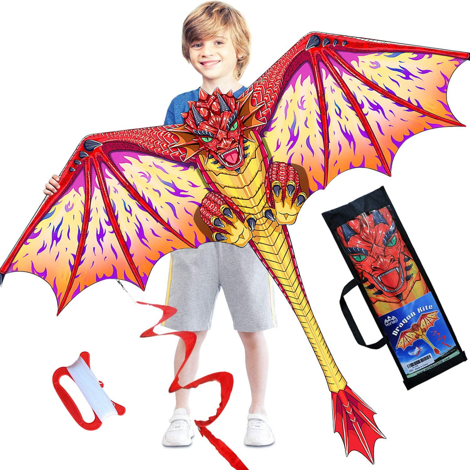 HONBO outlet Dragon depot Kite for Kids Beginner Adults-Easy to and Fly