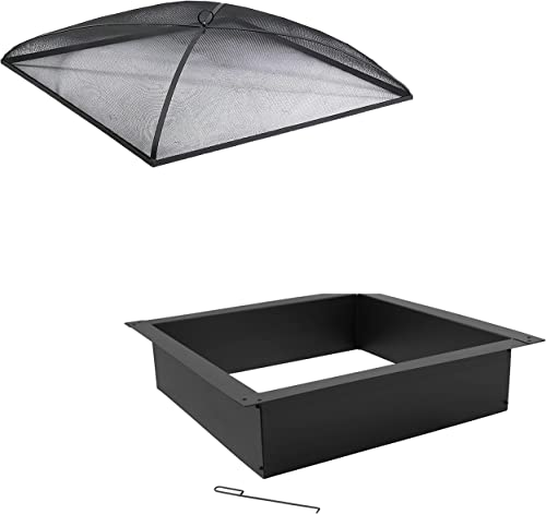 popular Sunnydaze wholesale 42-Inch Square Outside x 36-Inch Square Heavy-Duty 2.0mm Steel Above or In-Ground Fire Pit Ring/DIY Firepit Rim Liner outlet online sale and 36-Inch Black Metal Mesh Fire Pit Spark Screen Cover Bundle outlet online sale