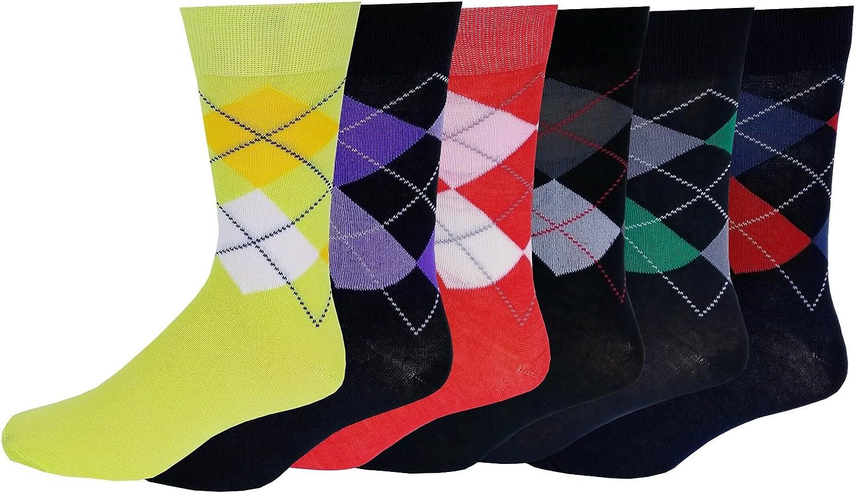 6 Pairs Men's colorful Argyle Fancy Design Fashion Dress Socks 1013  1009a