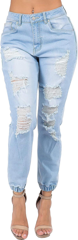 Fashion2Love Women Junior/Plus Size High Waist Distressed Elastic Cuffed Denim Joggers (3813)