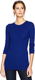 Enza Costa Women's Stretch Silk Rib Fitted Long Sleeve Crew Neck Top