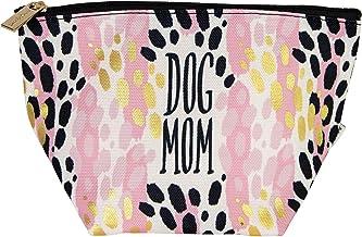 Dog Mom Leopard Black Goldtone 8 x 5 Fabric Mini Carryall Cosmetic Bag