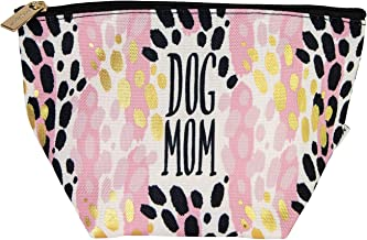 Dog Mom Leopard Black Goldtone 8 x 5 Fabric Mini Carryall Cosmetic Bag