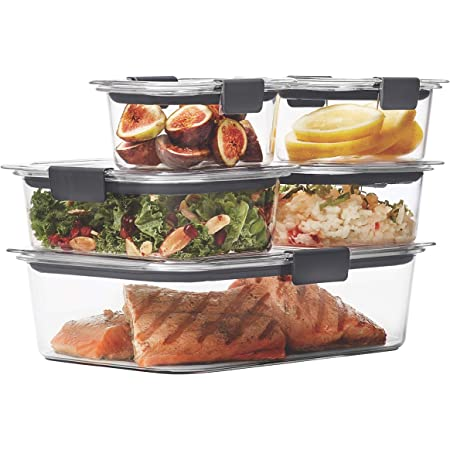 Rubbermaid Brilliance Leak-Proof Food Storage Containers with Airtight Lids, Set of 5 (10 Pieces Total)  BPA-Free & Stain Resistant