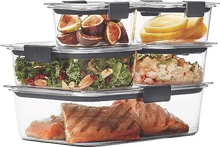 Rubbermaid Brilliance Food Storage Container, 10-Piece Set, 100% Leak-Proof, Plastic, Clear