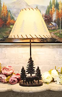 Ebros Rustic Midnight Black Bear Roaming in Pine Trees Forest Metal Table Lamp Statue with Pine Tree Shadows Printed Shade 24.5