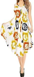 LA LEELA Damen A-Linie Strandkleid Hand Tie Dye Casual Knielang Cover Up Dress Sommer Midi Cocktailkleid Senf_Q713 M-XL