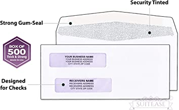 500 Gummed Security Check Envelopes, Double Window, Pattern Security - Designed for Quick-Books Printed Checks - Computer Printed Check, Gum Seal, 3 5/8 X 8 11/16 - Box of 500-
