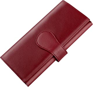 Luxspire RFID Blocking Women Lady Wallet Long Handbag Large Capacity Genuine Leather Clutches Bifold Multi Card Holder Organizer Ladies Purse