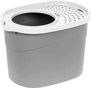 (gray/white) - IRIS Top Entry Cat Litter Box, Grey/White
