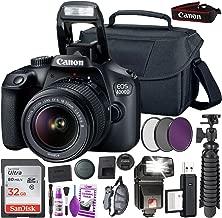 Canon EOS 4000D (Rebel T100) DSLR Camera and EF-S 18-55 mm f/3.5-5.6 is III Lens (International Version) + 32GB Memory Card + Camera Bag + MiniTripod + Flash