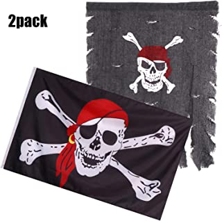 Olgaa 2 Packs Pirate Flag Skull Crossbones Flag with Red Scarf Halloween Flags UV Fade Resistant for Outdoor Halloween Party Decoration, 30 x 36 Inch and 3x5 FT