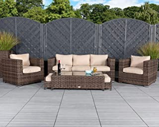 Patio Conversation Sets Outdoor Sectional Sofa No Assembly Alumimum Outdoor Furniture Set Olefin Cushioned 6Pcs Brown Wicker Outdoor Couch Deck Patio Furniture w/Free Waterproof Covers