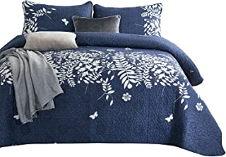 Wake In Cloud - Navy Blue Quilt Set, Gray Grey Floral Flowers Tree Leaves Modern Pattern Printed, Soft Microfiber Bedspread Coverlet Bedding (3pcs, Twin Size)