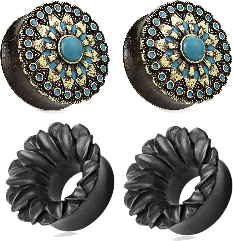 Zaya Body Jewelry 2 Pairs Black Wood Turquoise Flower Wood Ear Plugs Tunnels 0g 1/2 9/16 5/8 3/4 7/8 1 Inch