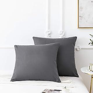 18 Couleurs Lot de 2 Taie d'oreiller 65 x 65 cm Gris en Microfibre Fermeture Éclair Housse d'oreiller Anti-Acariens Hypoal...