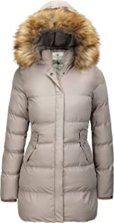 Women's Winter Thicken Puffer Coat with Fur Trim Removable Hood