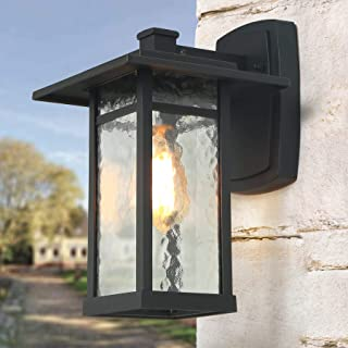 LOG BARN Exterior Light Fixtures Black Large Outdoor Wall Lantern with Water Glass for House Porch, A03321