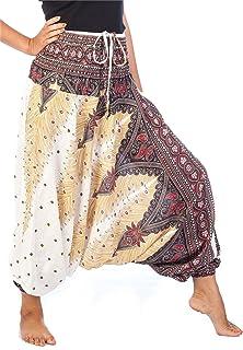 Lofbaz Women's Peacock Print 2 in 1 Harem Pants Jumpsuit