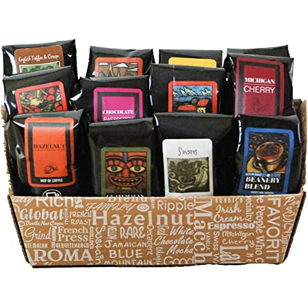 Indulgent Coffee Selection Gift Box   100% Specialty Arabica Coffee   12 Flavored 1.75oz Try-Me-Size one pot coffee samplers