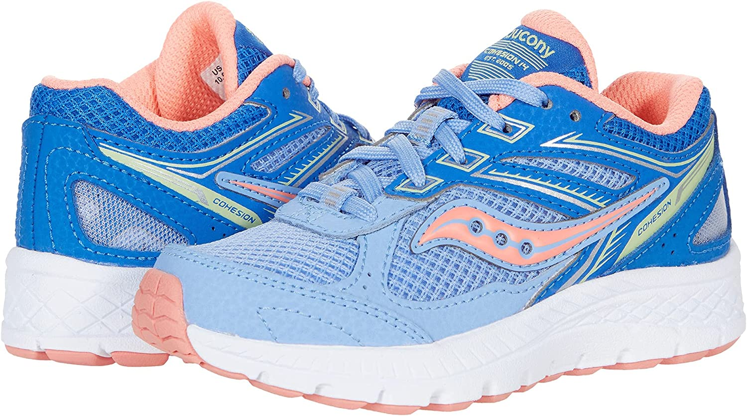 Saucony Cohesion 14 LACE to Toe Running Shoe, Blue/Coral, 3 Wide US Unisex Big_Kid