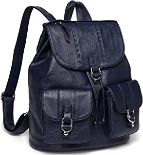 Backpack Purse for Women,VASCHY Fashion Faux Leather Buckle Flap Drawstring Backpack for College with Two Front Pockets Navy Blue