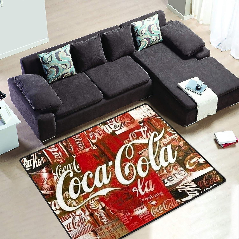 Retro Style Coke Advert 6' x 4' Short 気質アップ Pile Rug Moder 安い 激安 プチプラ 高品質 Area Velvet