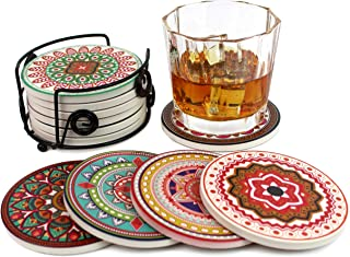 Summit One Absorbent Ceramic Stone Coasters with Cork Backing, Set of 6 (4 Inch) - Stone Coasters Set for Drinks with Beautiful Unique Mandala Designs - Includes Black Iron Coaster Holder