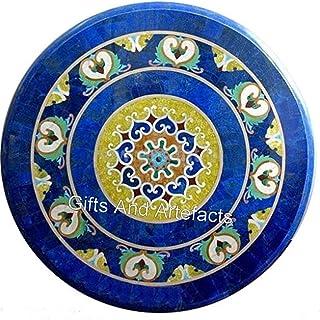 Gifts And Artefacts Sofá de mesa redonda de mármol de 91,6 cm, diseño de mosaico con piedras preciosas de lapislázuli con ...