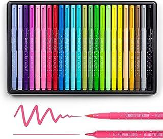 Scribbles That Matter Lot de 24 marqueurs à pointe fine et pinceau pour bullet journal, lettrage, coloriage pour adulte, c...