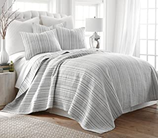 Levtex Bondi Stripe Grey King Cotton Quilt Set, Grey, Stripe