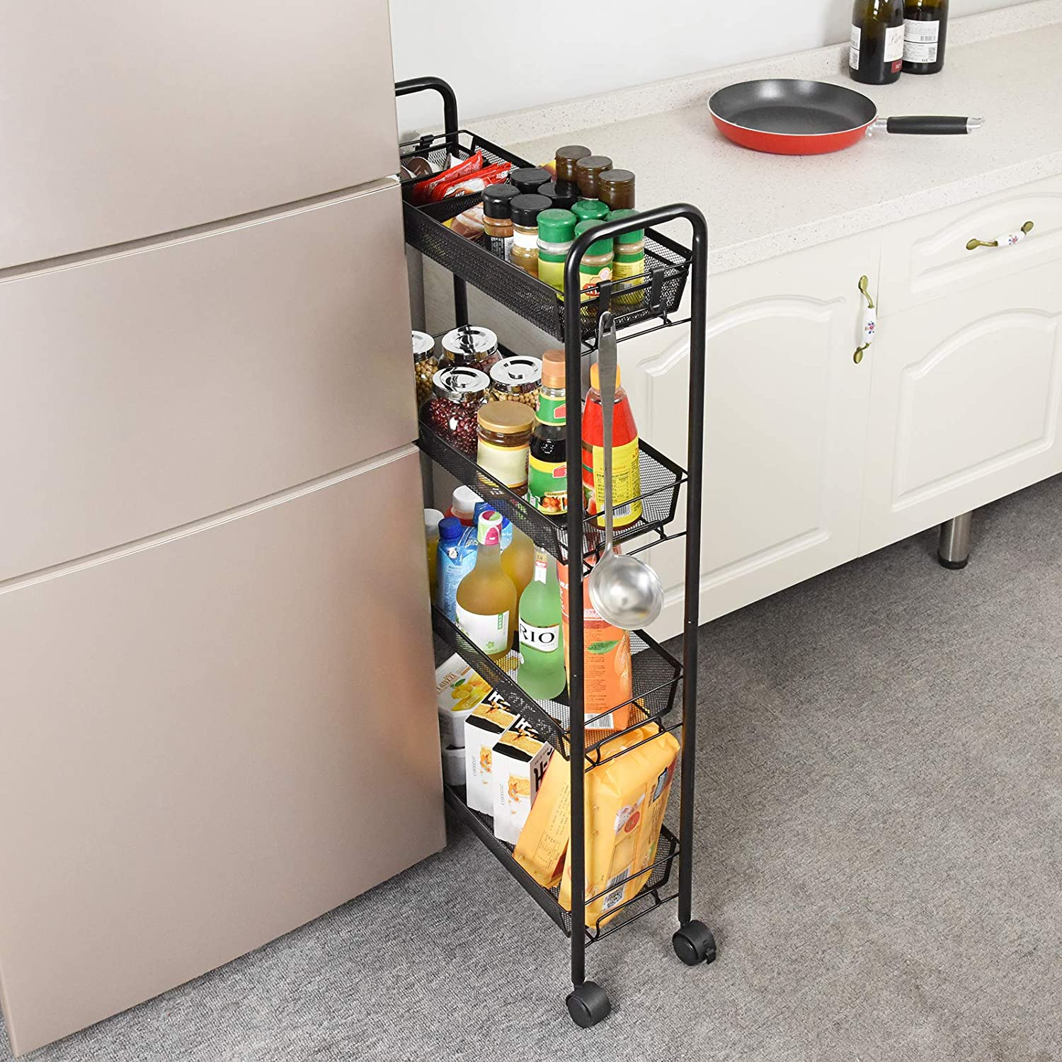 Space ILFALZT Kitchen Utility Cart 3-Tier Narrow Metal Rolling Trolley with 3 Organizer Tray//4 Side Hooks Saving Slim Storage Cart with Lockable Wheels for Narrow Place