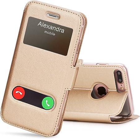 FYY Cover iPhone 8 Plus iPhone 7 Plus Cover Magnetica Smart View con Finestra di Apertura per Apple iPhone 8 Plus/iPhone 7 Plus Oro