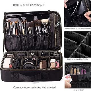 "ROWNYEON Makeup Bag Travel Makeup Case Train Case Professional Portable Cosmetic Makeup Organiser Cosmetic Artist Storage Bag for Women EVA Adjustable Compartment 14.1""-14.6'' (Medium, Black)"
