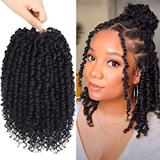 8 Packs Passion Twist Crochet Hair 10 Inch Pre-twisted Short Crochet Passion Twist Hair, Pre Looped Passion Twist Crochet ...