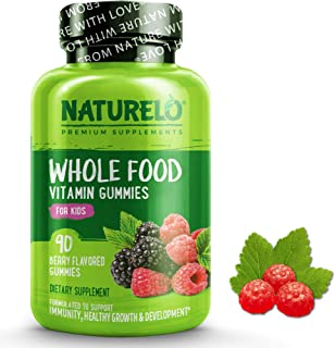NATURELO Whole Food Vitamin Gummies for Kids - Organic Great Tasting Berry Flavor - Non - GMO - All Natural Vitamins & Min...