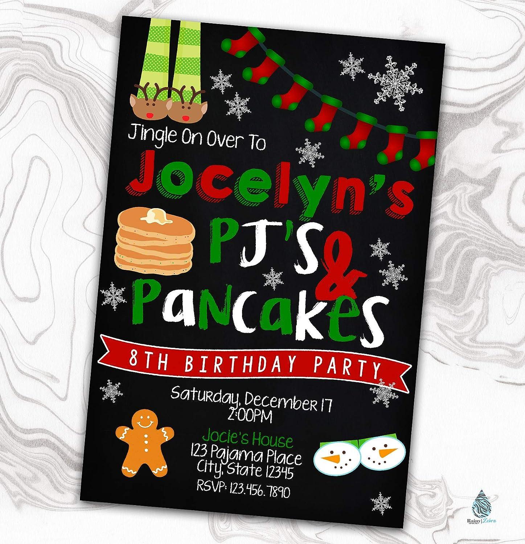 Christmas Sales Pajama Party Invitation - Pancakes Max 60% OFF and Xmas PJ's Sleep