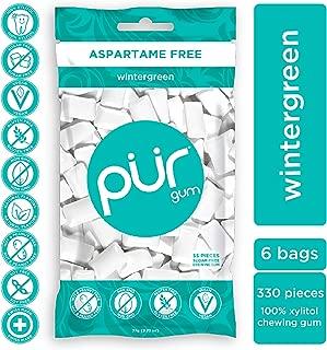 PUR 100% Xylitol Chewing Gum, Wintergreen, 55 Pieces per Bag (Pack of 6) Sugar-Free + Aspartame Free, Vegan + non GMO