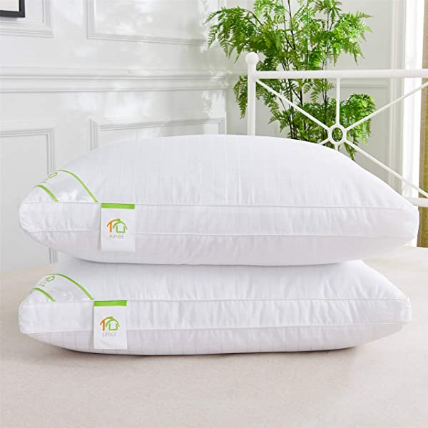 SUFUEE King Size Bed Pillows 2 Pack Luxury Down Alternative Pillows For Sleeping 100 Cotton Cover With Gusset Ultra Soft Fluffy 20 X 36