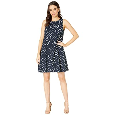 Three Dots Spring Dot Print Dress (Night Iris) Women