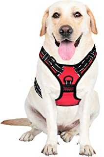 MyDog No Pull Dog Vest Harness with 4 Buckles, Reflective Easy Control Handle and 2 Front & Back Metal Leash Rings Dog Harness for Outdoor Dogs [No Need to Go Over Dog's Head]