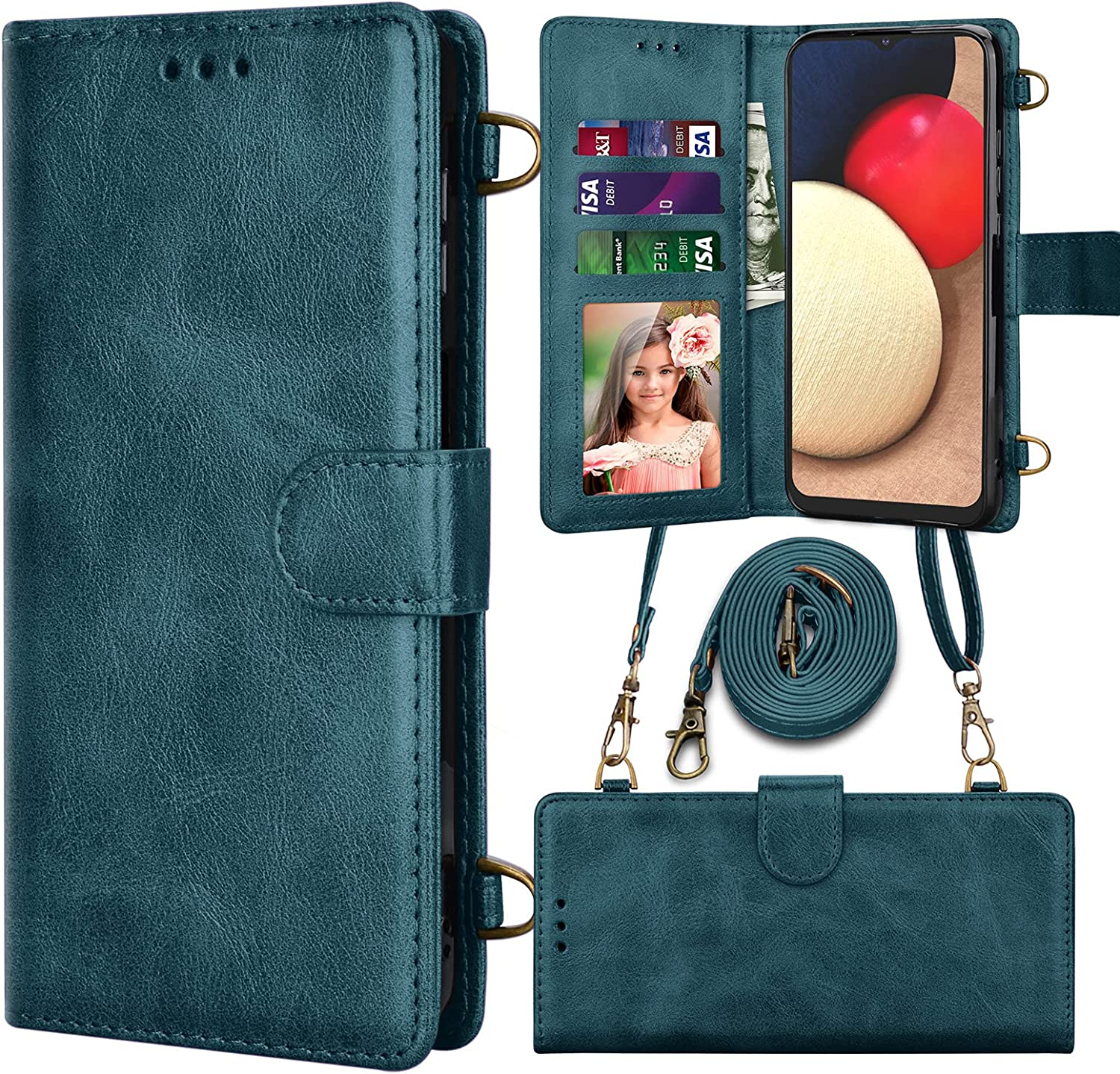 Njjex Wallet Case for Samsung Galaxy S21 Plus 5G, for Galaxy S21 Plus Case, RFID PU Leather Card Slots Holder Folio Flip Kickstand [Magnetic Detachable] Phone Cover Crossbody Strap Lanyard -Dark Green