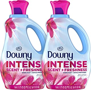 Downy Intense Scent + Freshness Scent-Boosting Liquid Fabric Softener, Spring Rush Scent, Two 56 fl oz Bottles, 83 Loads Each