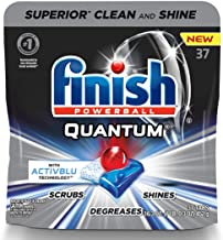 Finish – Quantum with Activblu technology – 37ct – Dishwasher Detergent – Powerball – Ultimate Clean and Shine – Dishwashing Tablets – Dish Tabs