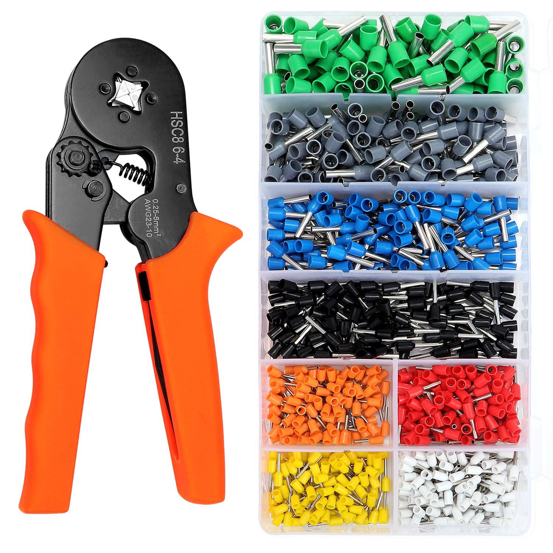 Ferrule Crimping Tool Kit AWG23-7 Self-adjustable Ratchet Wire Crimper Plier
