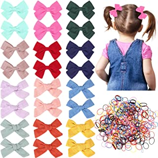 24 Pieces Baby Girls Hair Bows Clips Hair Barrettes Accessory for Babies Infant Toddlers Kids with 1500 Pieces Elastic Col...