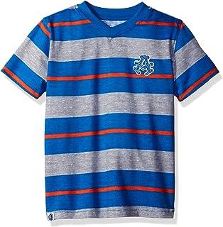 AKADEMIKS Kids Boys' Big Short Sleeve Stripe V-Neck Tee, Blue/Orange - 1, L