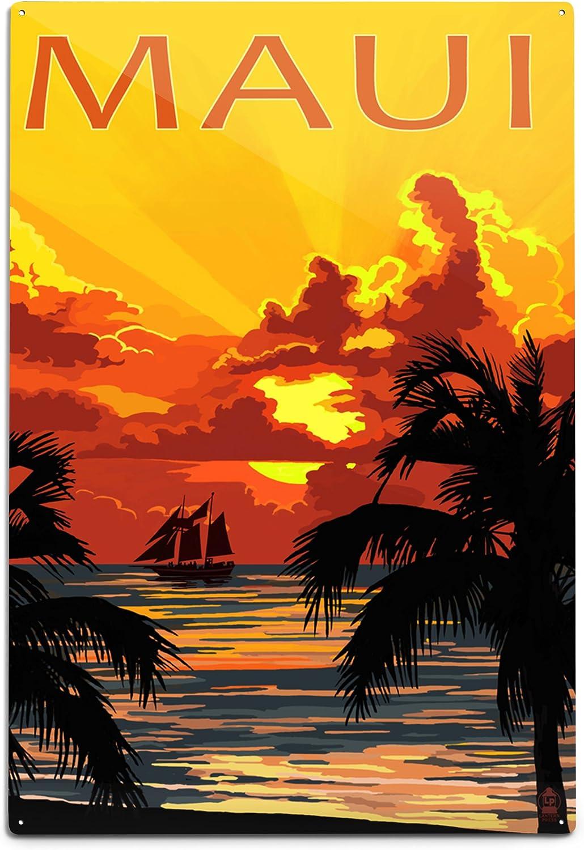 Lantern Press New Max 90% OFF item Maui Hawaii Sunset 12x18 and Wall Ship Aluminum