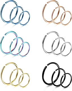 LOYALLOOK 18Pcs 20G 316L Stainless Steel Nose Ring Hoop Cartilage Hoop Septum Piercing 6-12mm