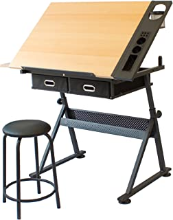 Stationery Island Foula Drafting Table - Art and Crafts Desk - Height Adjustable - Tiltable - Storage, Stool & Clips - For...